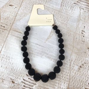 NWT A New Day Seed Bead ball necklace black